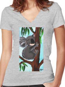 Cute Koala Women's Fitted V-Neck T-Shirt