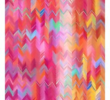 Colorful painted chevron pattern Photographic Print