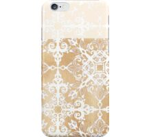 White Doodle Pattern on Sepia Ink iPhone Case/Skin