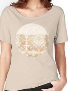 White Doodle Pattern on Sepia Ink Women's Relaxed Fit T-Shirt
