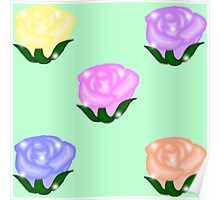 Roses - A garden of Pastel Roses Poster