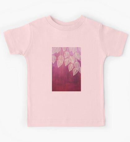 Magenta Garden - watercolor & ink leaves Kids Tee