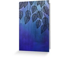 Midnight Blue Garden - watercolor & ink leaves Greeting Card