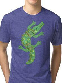 Green crocodile with floral pattern Tri-blend T-Shirt