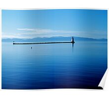 Breakwater Lighthouse North - Burlington, VT - with the Adirondacks  Poster