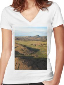 a desolate Mexico landscape Women's Fitted V-Neck T-Shirt