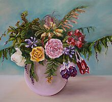 Chandra's Flowers Still Life Painting by Gayle Utter