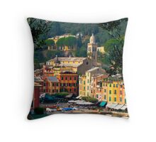 Looking down at harbor Throw Pillow