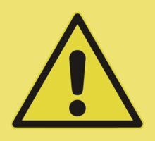 Warning sign. Exclamation mark in yellow triangle. Kids Tee