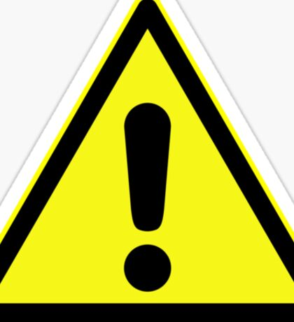 Warning sign. Exclamation mark in yellow triangle. Sticker