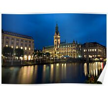 Hamburg Town Hall by Night Poster