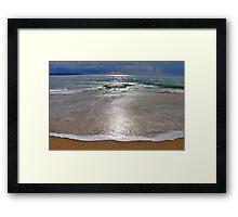 the moon landed on the beach.... Framed Print