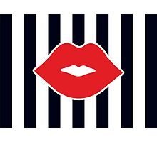Red Lips with Stripes Photographic Print