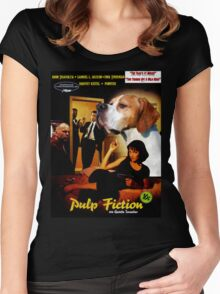 English Pointer Art - Pulp Fiction Movie Poster Women's Fitted Scoop T-Shirt