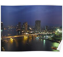 Busy City, Calm River Poster