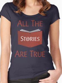 All The Stories Are True Shadowhunters City of Bones Cassandra Clare Quote Typography Women's Fitted Scoop T-Shirt