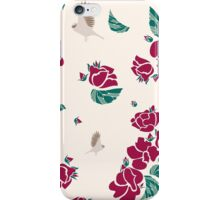 Vintage pattern of roses and birds iPhone Case/Skin