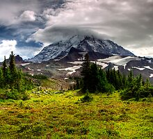 Minutes before the storm on Mt Ranier by bonsta