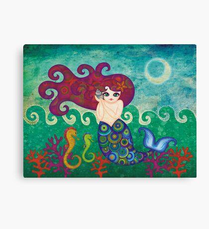 Moonface Mermaid Canvas Print