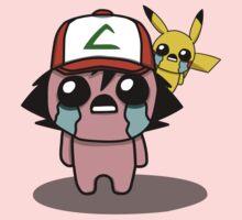 The Binding Of Isaac/Pokémon Crossover - Ash Ketchum and Pikachu (Kanto) Kids Tee