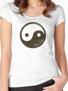 yin yang smiley Women's Fitted Scoop T-Shirt