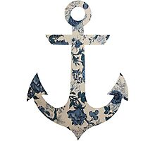 Blue Floral Anchor Photographic Print