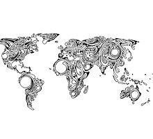 World Map Swirls (Sworld) - White Background by ConorMcAllister