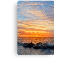 yellow sunset and soft water at beal beach Canvas Print