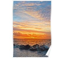 yellow sunset and soft water at beal beach Poster