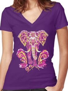 Apocalypse elephant Women's Fitted V-Neck T-Shirt