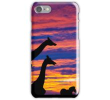 zebra and giraffes resting in the sunset iPhone Case/Skin