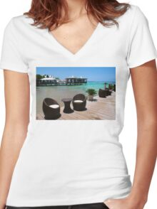 Infinity Luxury Swimming Pool in the Cayman Islands Women's Fitted V-Neck T-Shirt