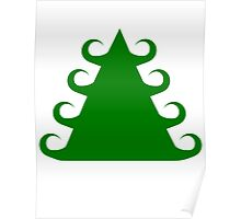 Curley Green Christmas Tree  Poster