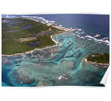 Aerial view of Caribbean reef Poster