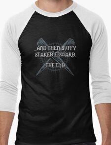 """""""Buffy staked Edward"""" Men's Baseball ¾ T-Shirt"""
