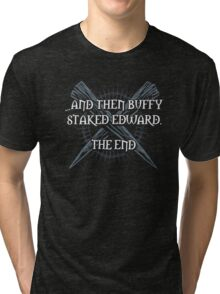 """Buffy staked Edward"" Tri-blend T-Shirt"