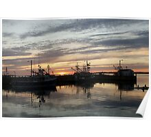 Fishing boats at dusk Poster