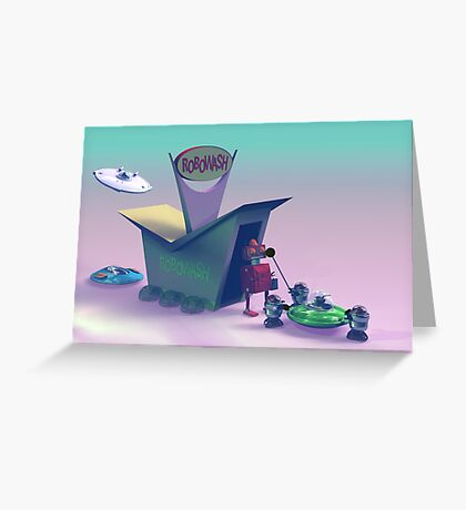 Retro Toy Robo Wash Greeting Card
