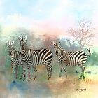 Zebras In The Mist by arline wagner