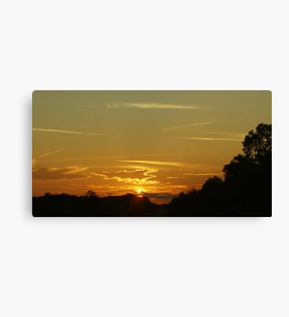 Sundown And Contrails Canvas Print