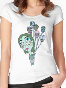 Ghostly Figures and Flowers 2 Women's Fitted Scoop T-Shirt