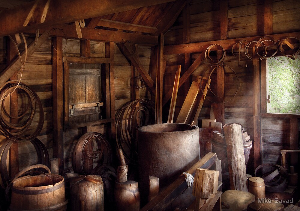 Barrel Maker - In the back of the barrel makers shop by Mike  Savad