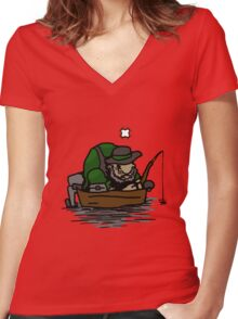 the fish aren't biting Women's Fitted V-Neck T-Shirt