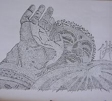 Japanese Daibutsu (Buddha) 8x12 Dot drawing ink on paper. by boocifer