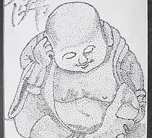 Hotei (AKA Happy Buddha) 5x7 Dots on paper by boocifer