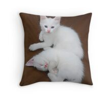 White Kittens on Brown Chair  Throw Pillow