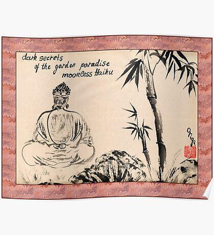 Dark Secrets (garden Buddha). Haiga Poster