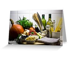 Kitchen Still Life with Pumpkin, Corn and other items Greeting Card