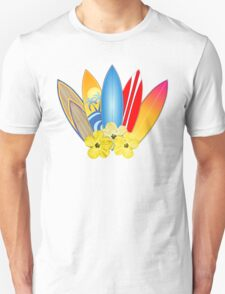 Surfboards And Hibiscus Flowers T-Shirt
