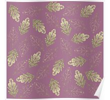 Elegant Faux Gold Leaf Fall Leaves on Mauve Purple Poster